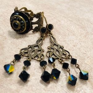 Antique black gems and brass ring and earrings set